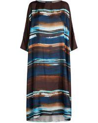 Eskandar Boat-neck Midi Dress - Blue