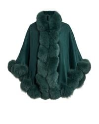 Harrods Fox Fur-trimmed Cashmere Cape - Green
