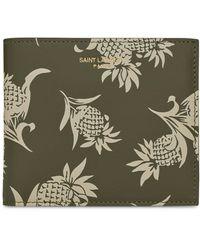 Saint Laurent Leather Pineapple Bifold Wallet - Natural
