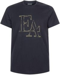 Emporio Armani - Metallic Embroidered T-shirt - Lyst