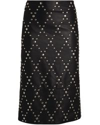 Yves Salomon Leather Trapezoid Skirt - Black