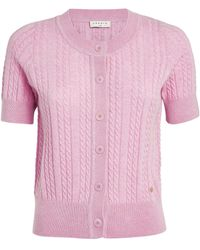 Sandro Wool-cashmere Cable-knit Cardigan - Pink