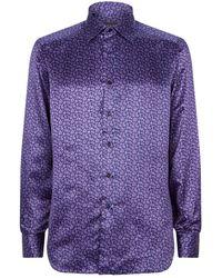 Stefano Ricci Silk Paisley Shirt - Purple
