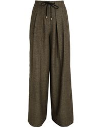 ME+EM Herringbone Wide-leg Pants - Brown