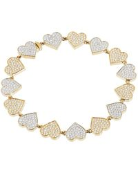 Sydney Evan - Yellow Gold And Diamond Double Heart Eternity Bracelet - Lyst