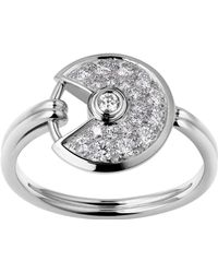 Cartier - Extra Small White Gold And Diamond Amulette De Ring - Lyst