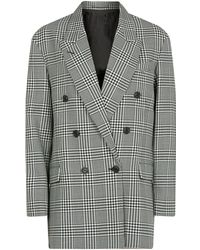 Burberry - Prince Of Wales Check Wool Oversized Jacket - Lyst