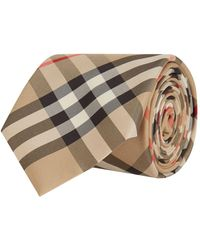 Burberry Silk Nova Check Tie - Natural