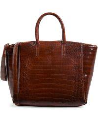 Nancy Gonzalez Crocodile Zipped Tote Bag - Brown