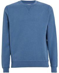 Sunspel Loopback Cotton Sweatshirt - Blue