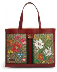 Gucci Ophidia Floral And GG Supreme Tote - Red