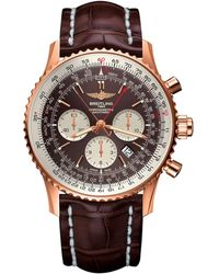 Breitling Rose Gold Navitimer Rattrapante Chronograph Watch 45mm - Brown