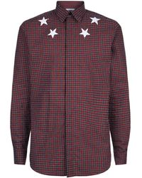 Givenchy - Star Collar Check Shirt - Lyst