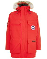 Canada Goose Fur Trim Expedition Parka - Red