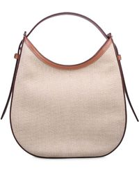 Tod's Small Raffia And Leather Oboe Shoulder Bag - Natural