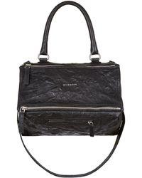 Givenchy - Medium Washed Leather Pandora Bag, Black, Medium - Lyst