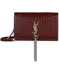 1a9a754fe47 Saint Laurent Kate Tassel Croc-embossed Leather Wallet On Chain in Pink -  Lyst