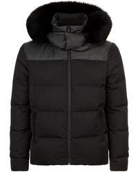Fendi - Monogram Fur Trim Padded Jacket - Lyst