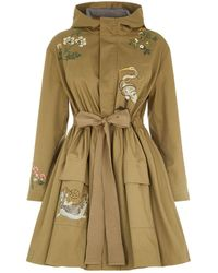 RED Valentino Embroidered Parka Coat - Green