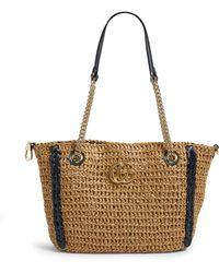 Gucci Large Raffia Marmont Tote Bag - Black