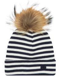 Claudie Pierlot - Striped Bobble Hat, Blue, One Size - Lyst