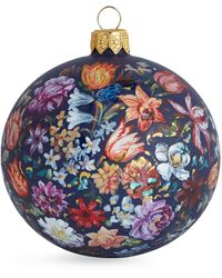 Harrods Hand-painted Floral Bauble - Black