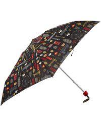 Harrods Glitter London Umbrella, White