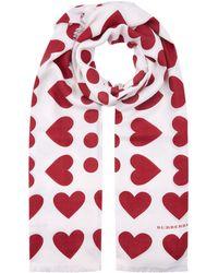 Burberry - Heart And Spot Wool Silk Blend Jacquard Scarf - Lyst