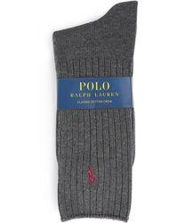 Polo Ralph Lauren Ribbed Polo Pony Socks - Grey