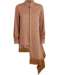 Mother Of Pearl Vienna Asymmetric Fringe Shirt - Natural