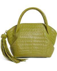 Nancy Gonzalez Small Crocodile Tassel Bowler Bag - Green