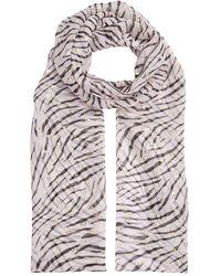 bacdd4026 Roberto Cavalli Zebra Stripe Scarf in White - Lyst