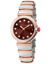 BVLGARI Stainless Steel And Rose Gold Lvcea Diamond Watch 33mm - Metallic