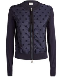 Moncler Logo Zipped Cardigan - Blue