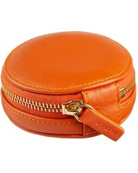 Stow Leather Compass Accessories Case - Orange