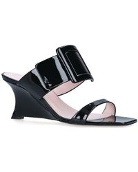 Roger Vivier Patent Leather Viv' In The City Wedge Mules 65 - Black
