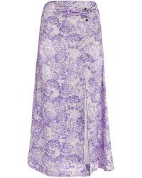 Ganni Satin Floral Print Skirt - Purple