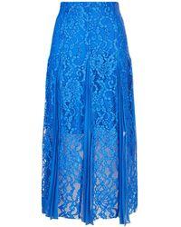 Sandro - Pleated Lace Midi Skirt - Lyst