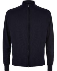 John Smedley - Easy Fit Merino Wool Zip-through Sweater - Lyst