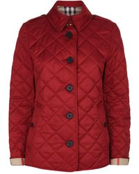 Burberry Diamond Quilted Jacket - Red