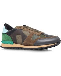 Valentino - Camouflage Studded Trainer - Lyst