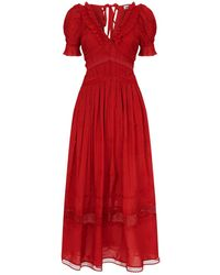 ab41a1fa6f760 Self-Portrait Broderie Anglaise Sheath Dress in Red - Lyst