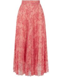 Burberry - Pleated Lace Midi Skirt - Lyst