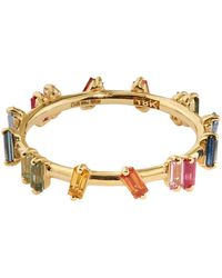 Suzanne Kalan - Yellow Gold And Sapphire Rainbow Fireworks Barbwire Ring - Lyst