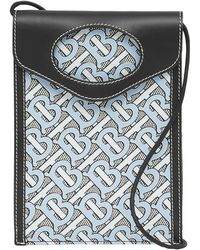 Burberry Monogram Canvas And Leather Pocket Phone Case - Blue
