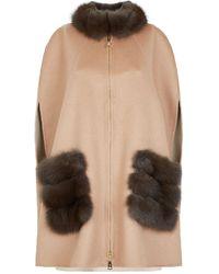 Lilly E Violetta Cashmere Sable Fur Trim Cape - Natural
