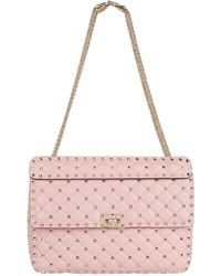 11a5683d1fe Valentino Rockstud Metallic Leather Shoulder Bag in Pink - Lyst