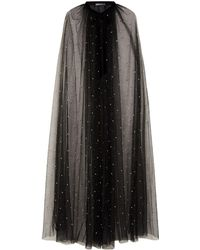 Monique Lhuillier - Pearl Embellished Tulle Cape - Lyst