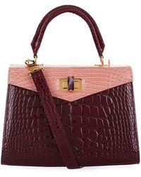 Ethan K - Croc Alla Single Top Handle Bag, White, One Size - Lyst