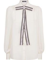 Dolce & Gabbana - Silk Bow Shirt - Lyst